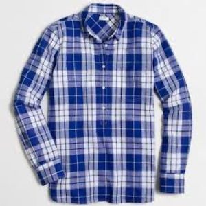 J.Crew Factory Plaid Gauze Popover, SZ Small.
